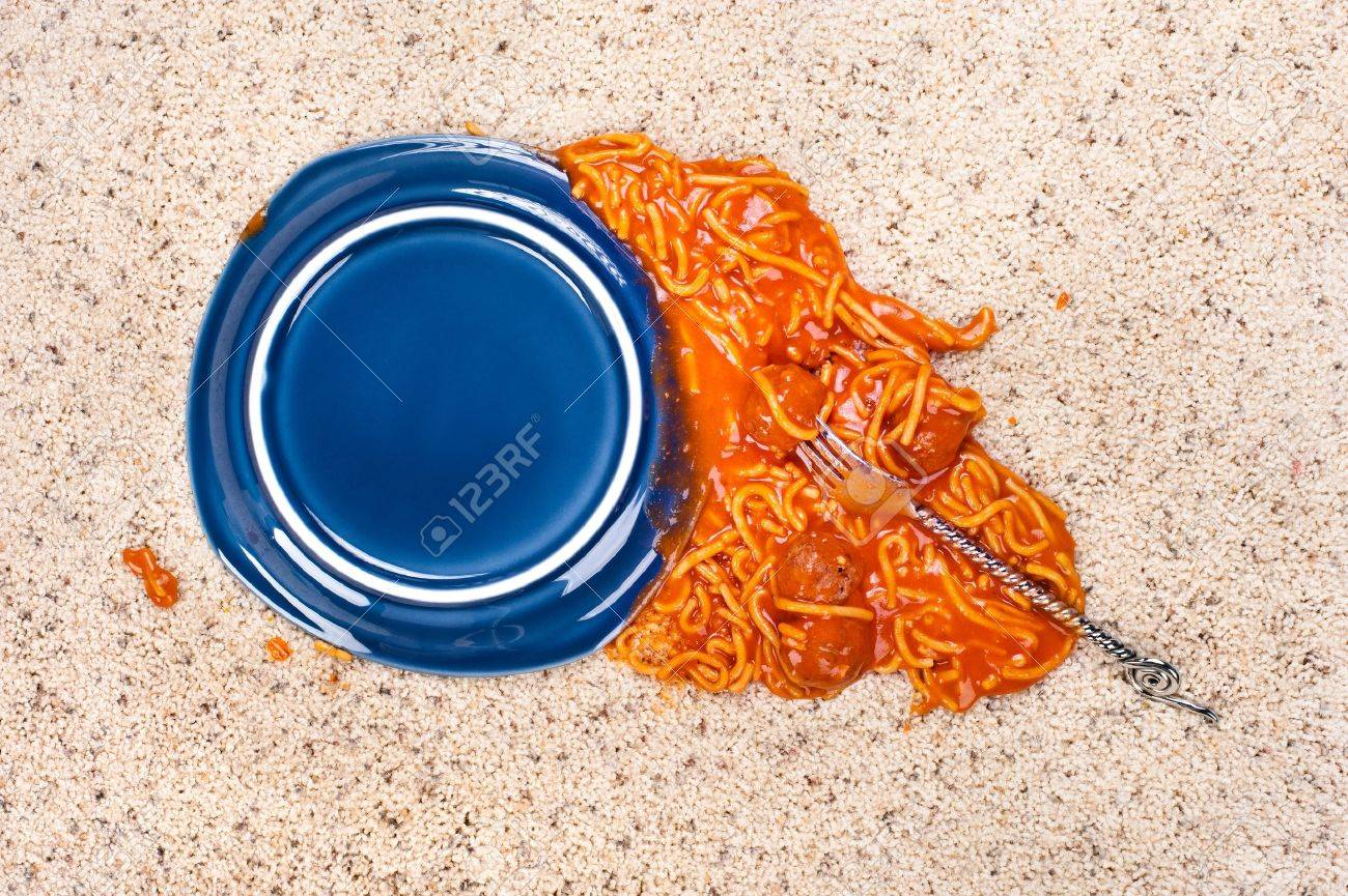 A dropped plate of spagetti on new carpeting. - 11466439