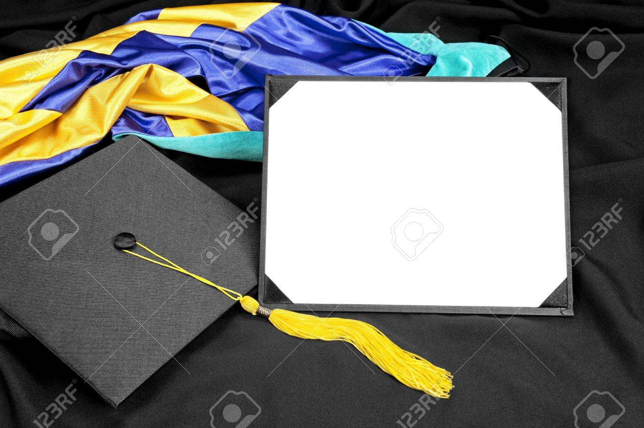 A Graduation Setting With Cap,tassel, Gown, Hood And Blank Diploma ...