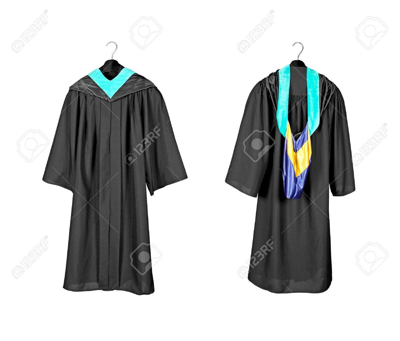 A Front And Rear View Of A Graduation Gown With Purple And Blue ...