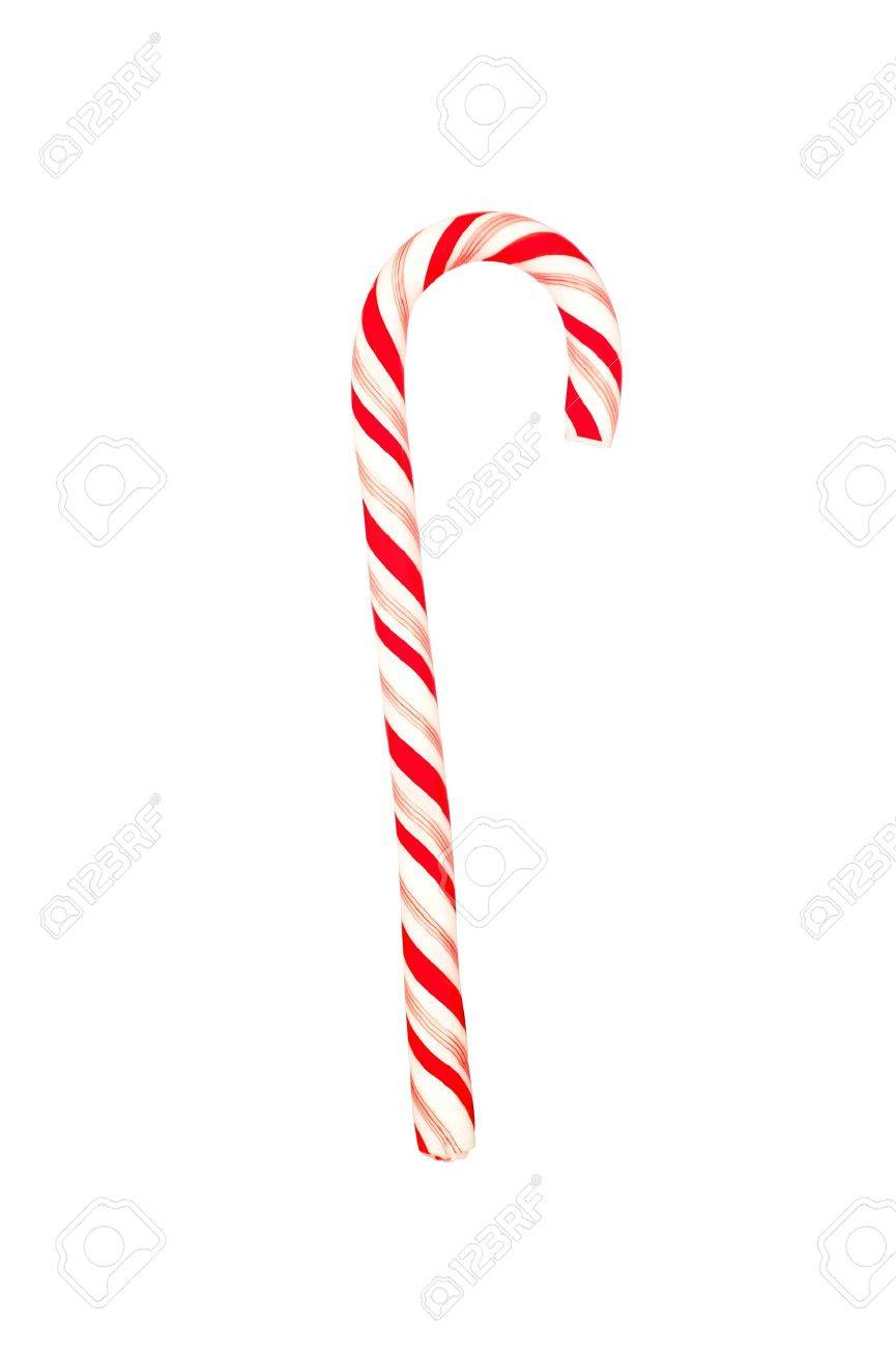 A Christmas candy cane isolated on a white background - 12460959