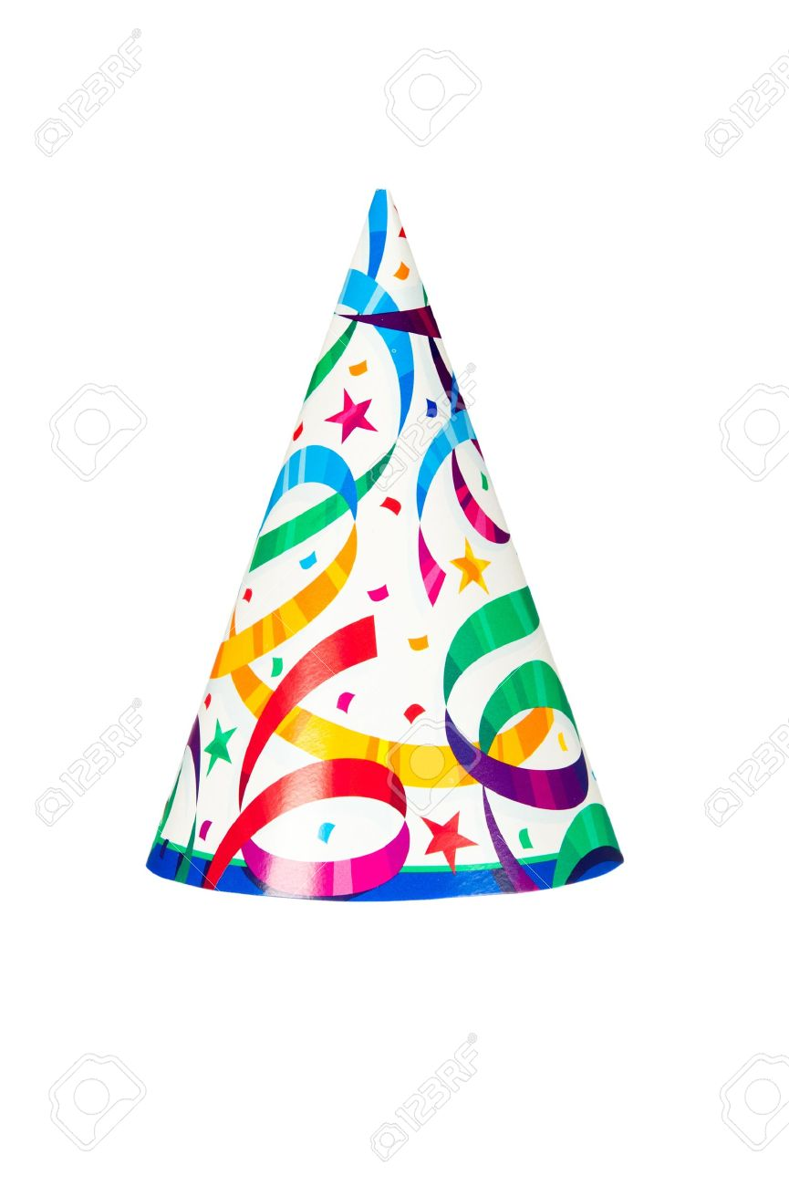 A birthday or new years party hat isolated on a white background - 12460967