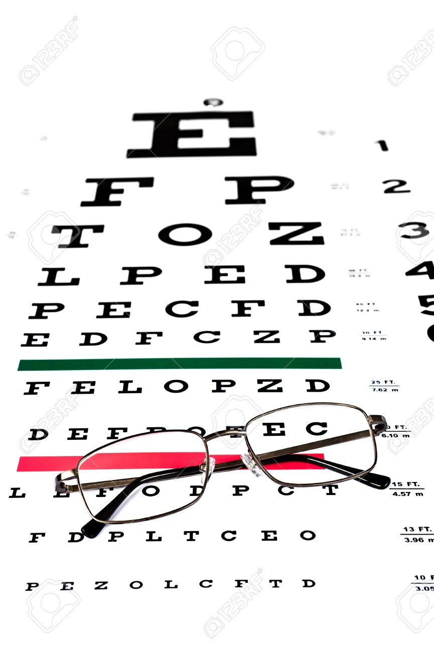 A pair of reading glasses on a snellen eye exam chart to test a pair of reading glasses on a snellen eye exam chart to test eyesight accuracy stock geenschuldenfo Choice Image
