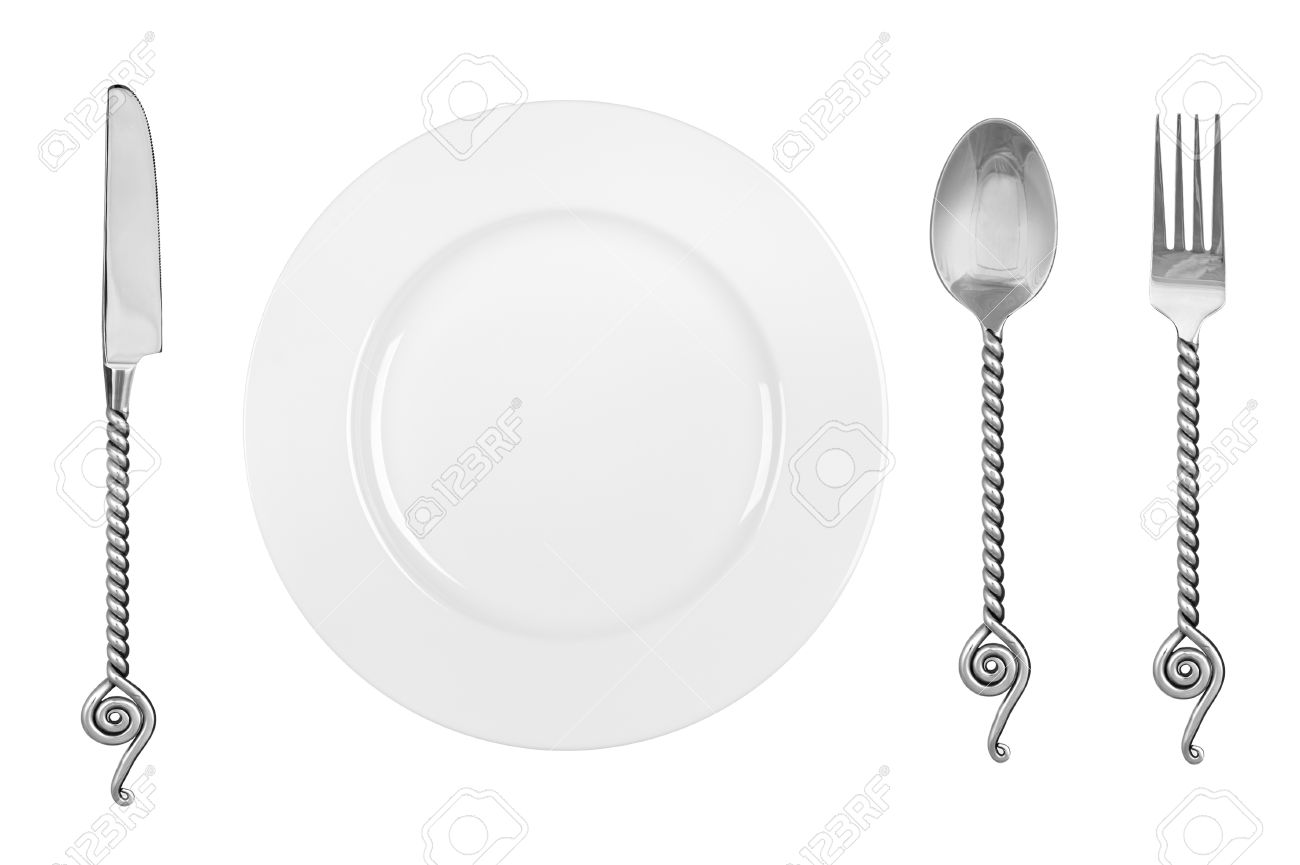 A table setting with a dinner plate and fancy silverware consisting of a fork  sc 1 st  123RF.com & A Table Setting With A Dinner Plate And Fancy Silverware Consisting ...