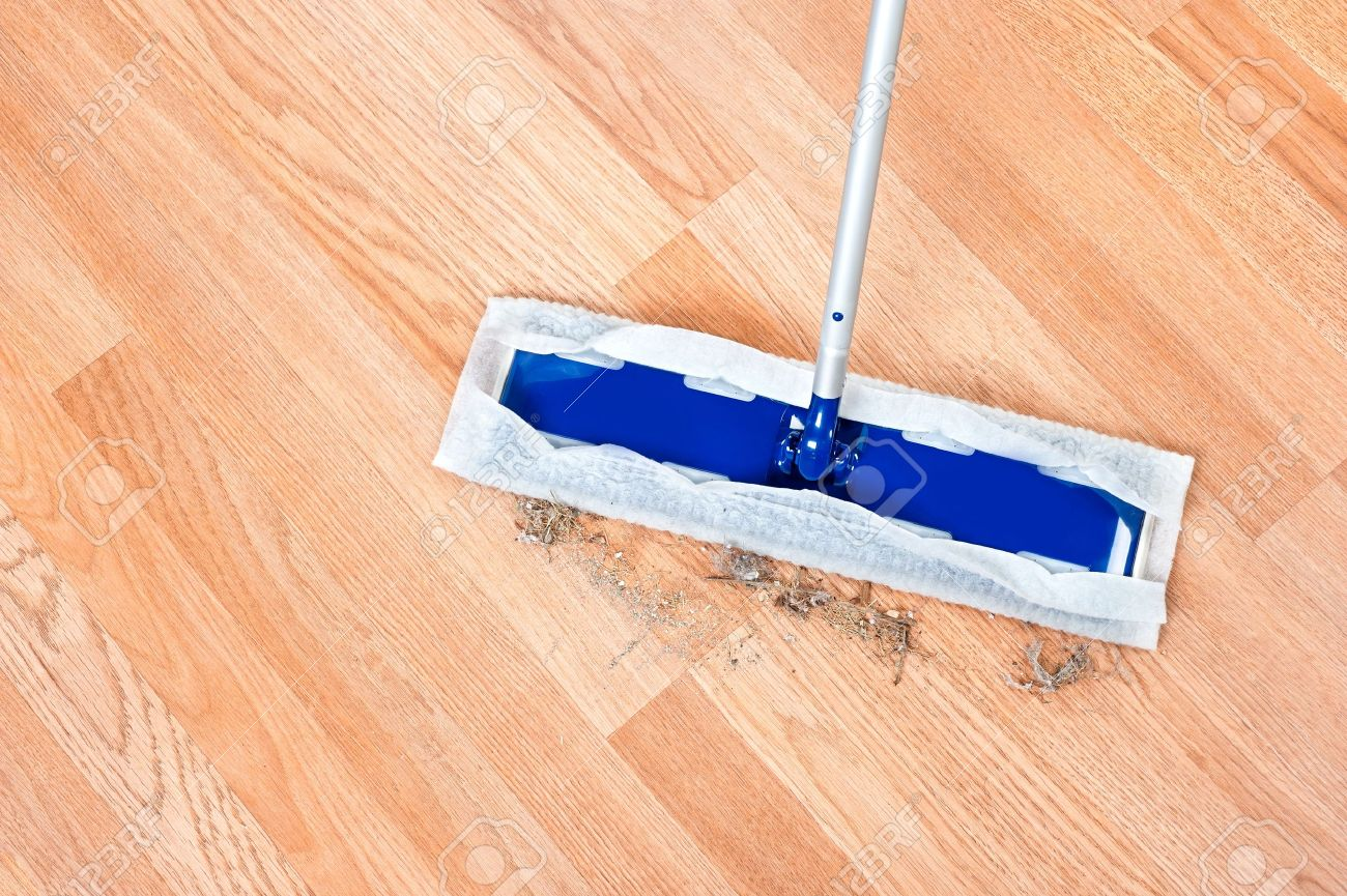 Image Of A Modern Floor Dusting Mop Being Used To Clean Hair
