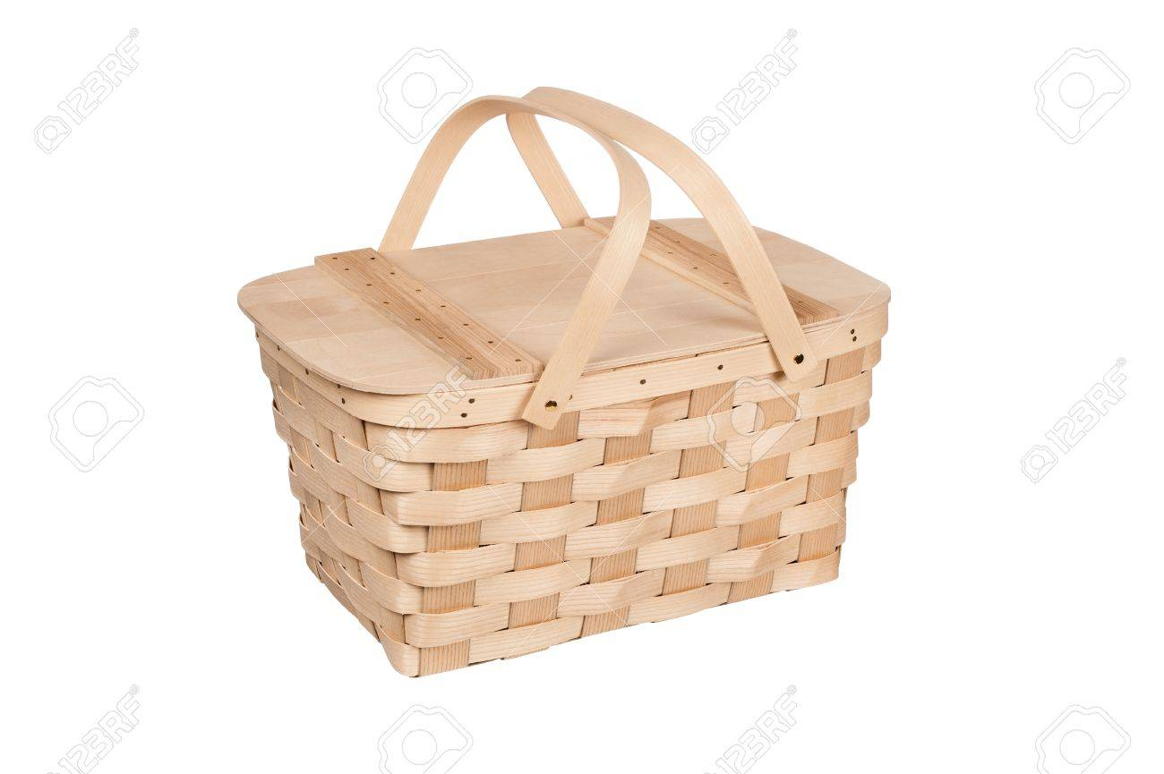 White wicker baskets with handle - A New Wicker And Wood Picnic Basket With Lid And Handles Isolated On White Stock