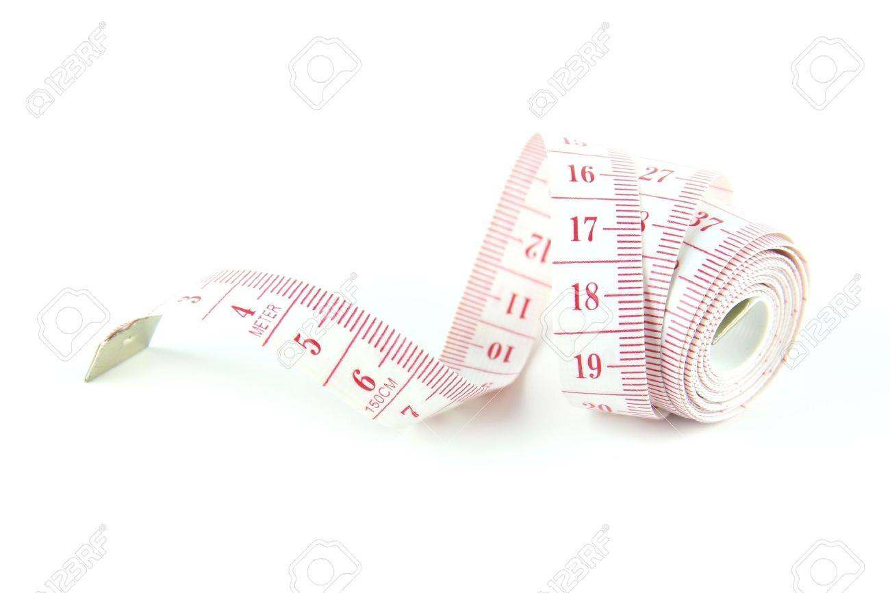 The tape measure used for making clothing alterations and to measure body  parts with white background. Stock Photo - 10540328