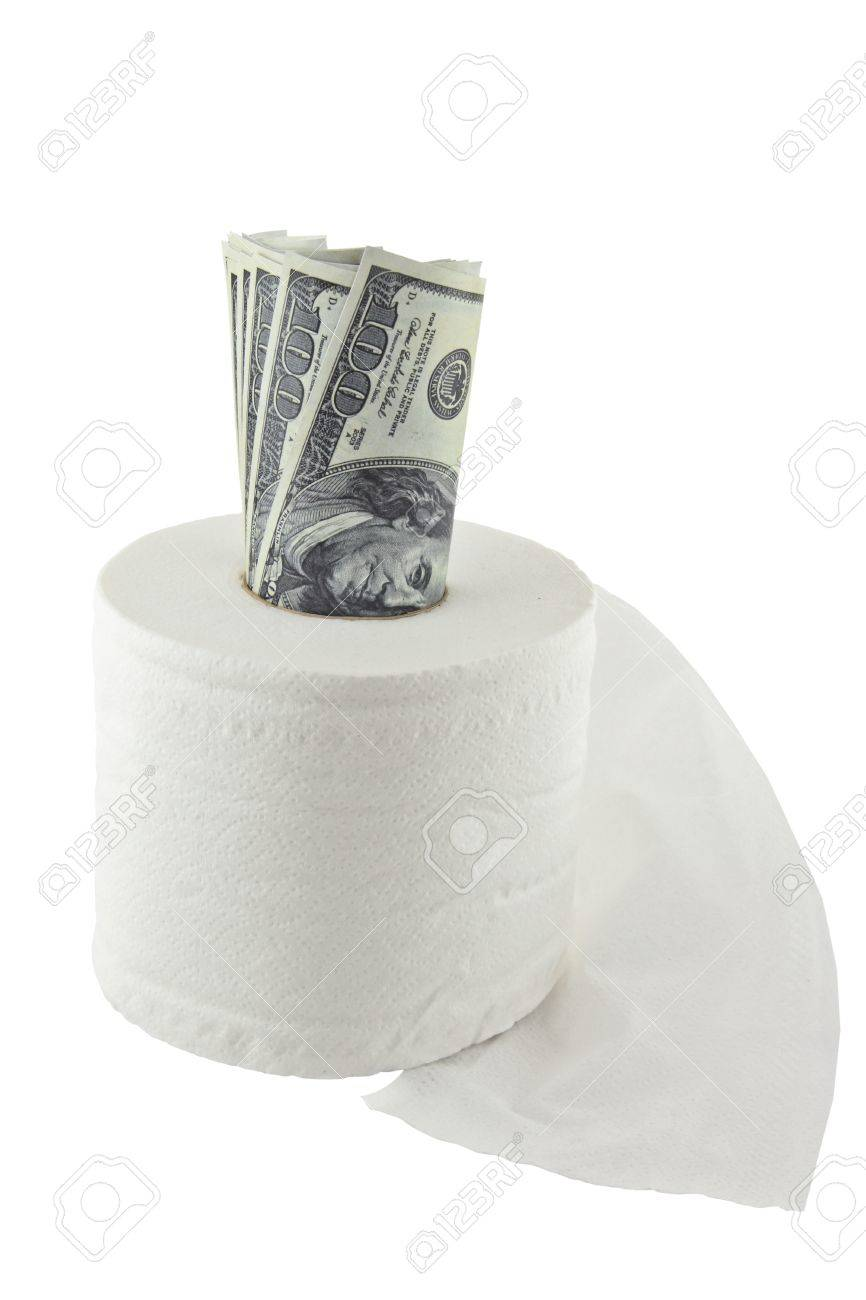 Roll of hundred dollars in a toilet paper on white background  (business concept) Stock Photo - 10837102