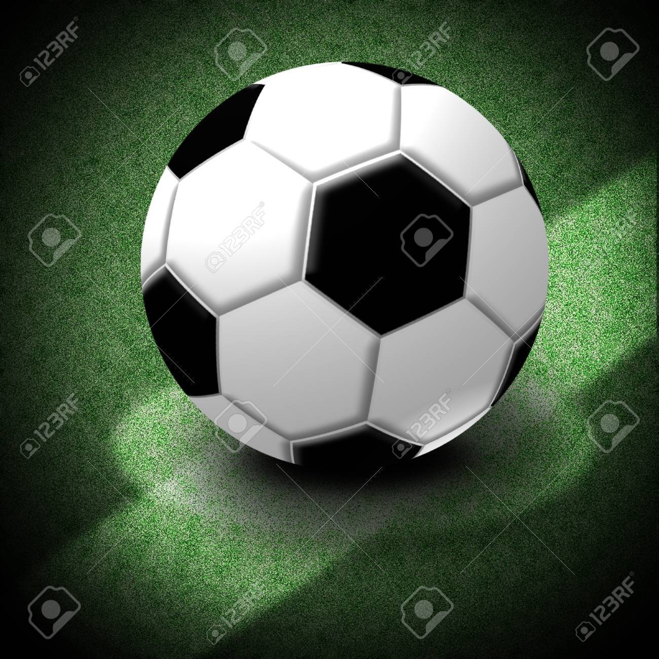 Soccer Ball, Illustration of a soccer ball lying on the center of the game field  with Clipping paths Stock Illustration - 21435302