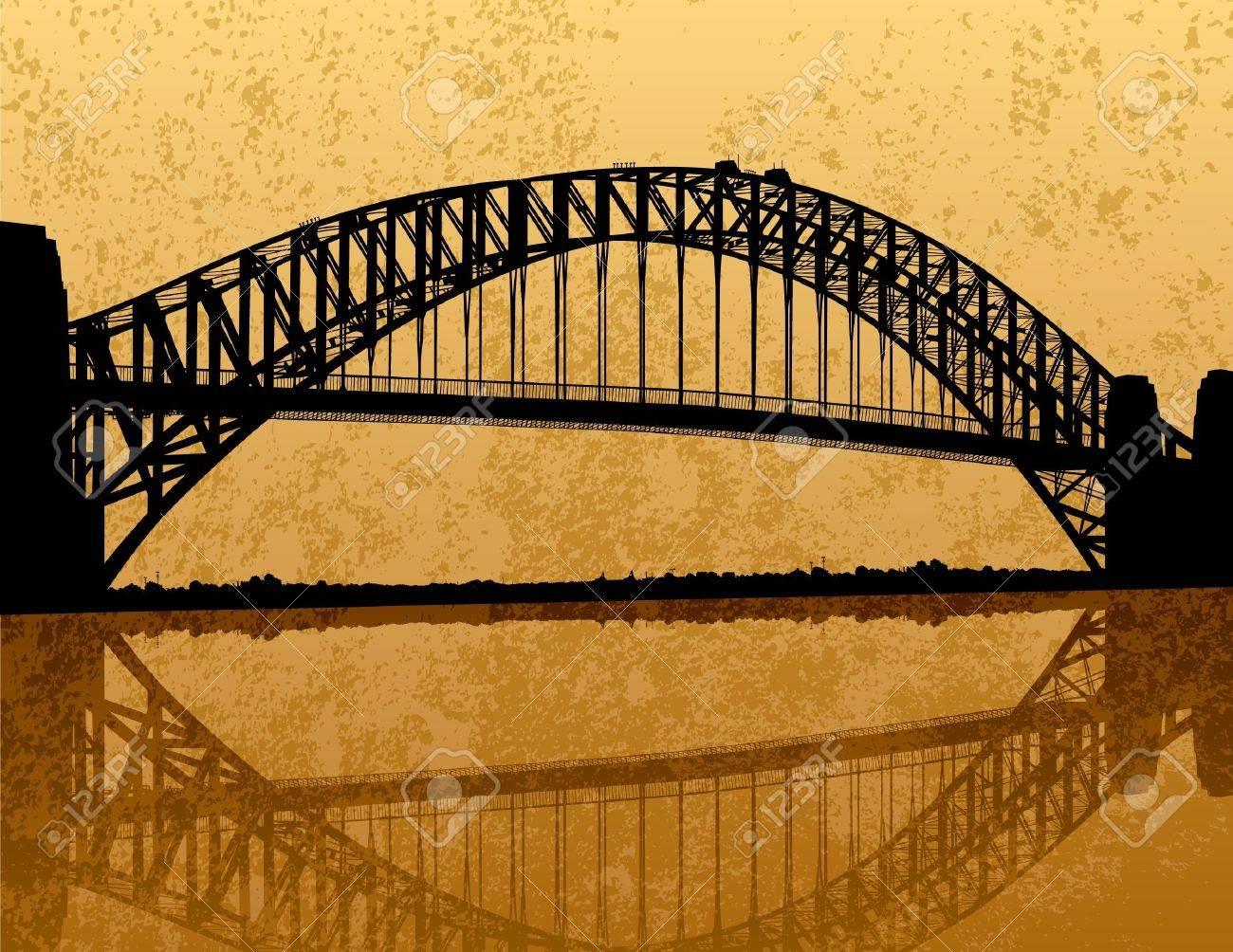 Sydney Harbour Bridge Silhouette Stock Vector - 12157828