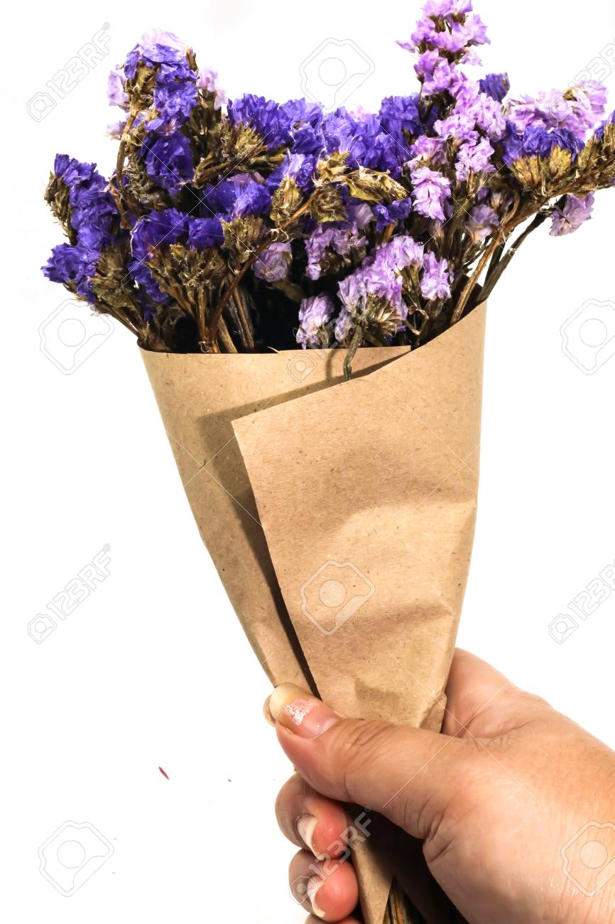 Close Up Brown Bouquet Purple Statice Dry Flower On Hand And Stock Photo Picture And Royalty Free Image Image 94761674