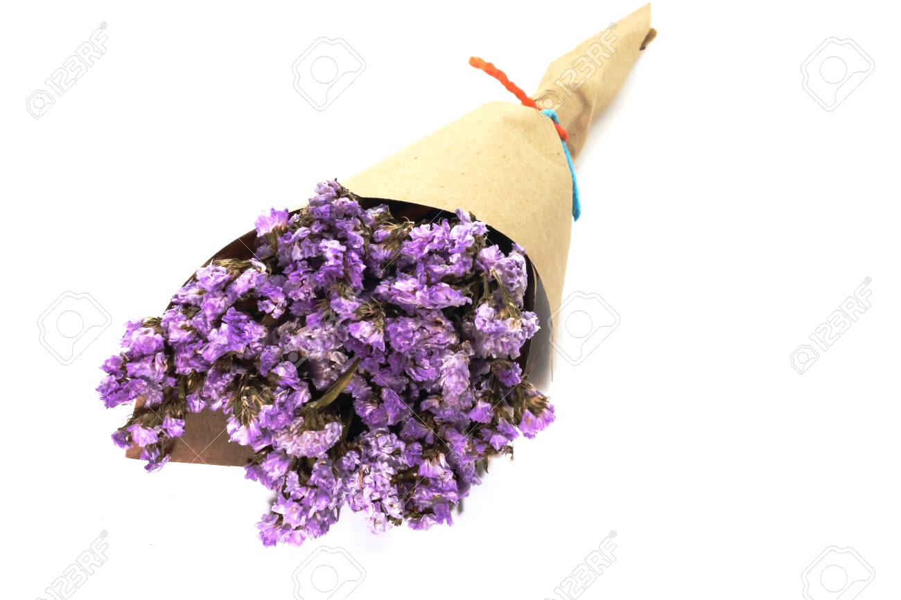 Macro Of Brown Bouquet Purple Statice Dry Flower On White Background Stock Photo Picture And Royalty Free Image Image 97033573