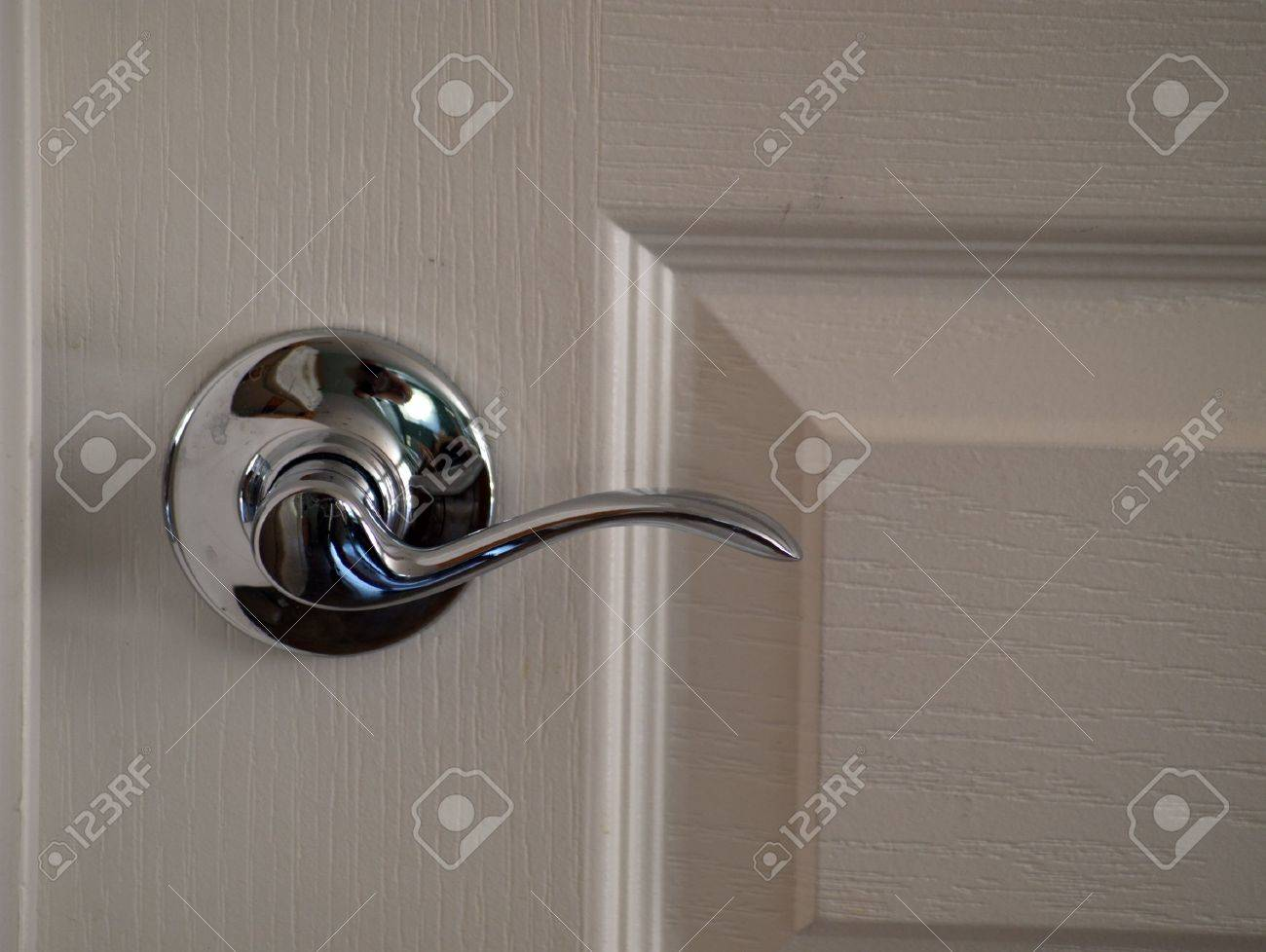 Inside Door Knob. Easy Open, Lever Shaped Latch Stock Photo, Picture ...