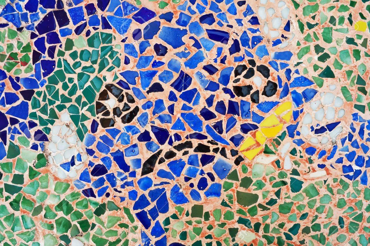Mosaico Ornamento Decorativo De La Pared De Azulejos De Cerámica Rotos