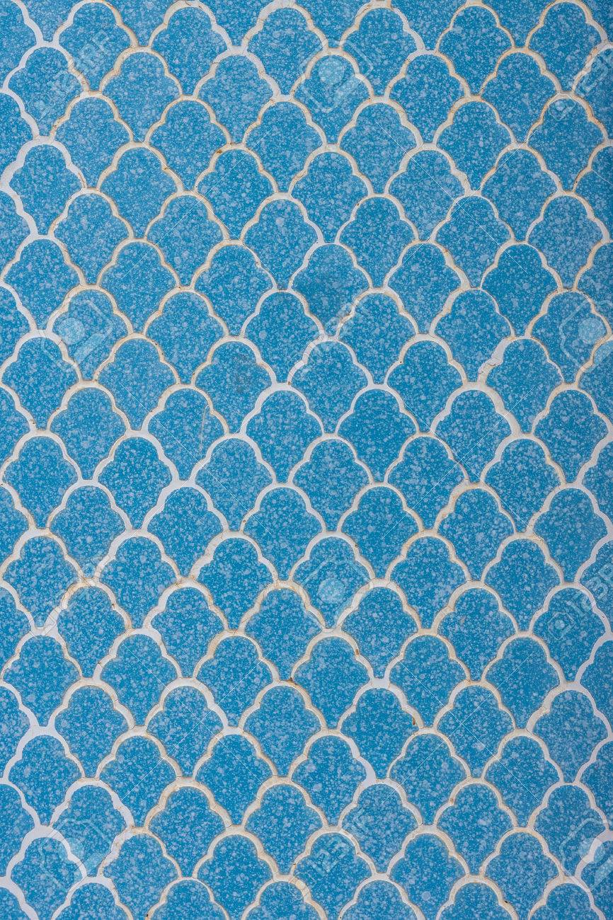 The Blue Ceramic Tiles On The Wall With Wave Pattern For Interior ...