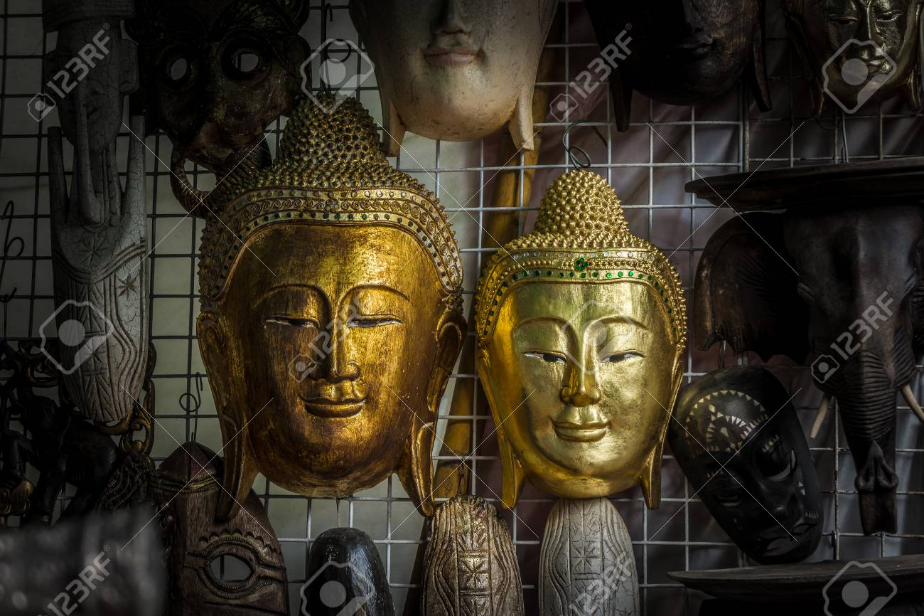 The Vintage Handicrafts Of Buddha Head Statue Stock Photo Picture