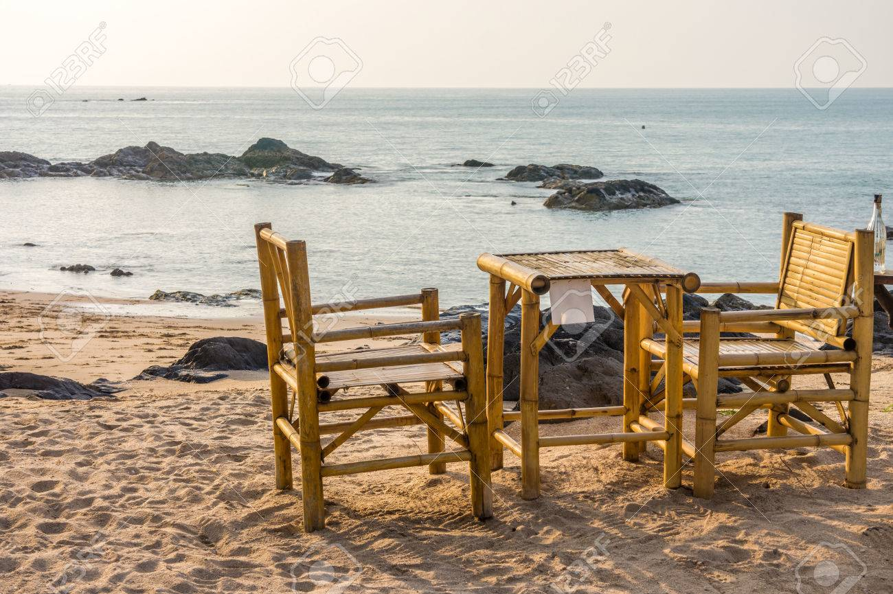 Bamboo Chairs And Table With Clear Sky On Pak Weep Beach In Southern  Thailand In The