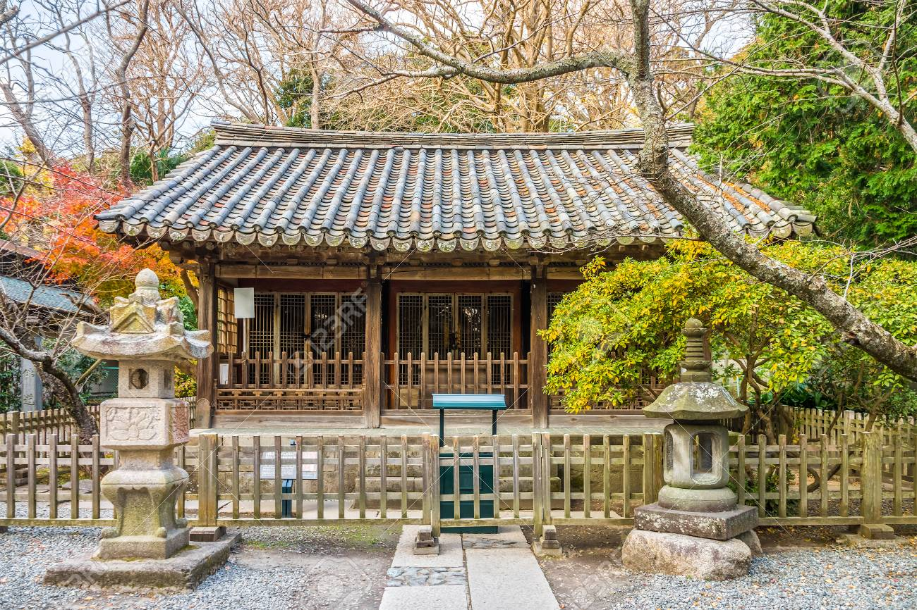Hall of Japanese Buddhist Temple at the Kotoku-in Temple  It