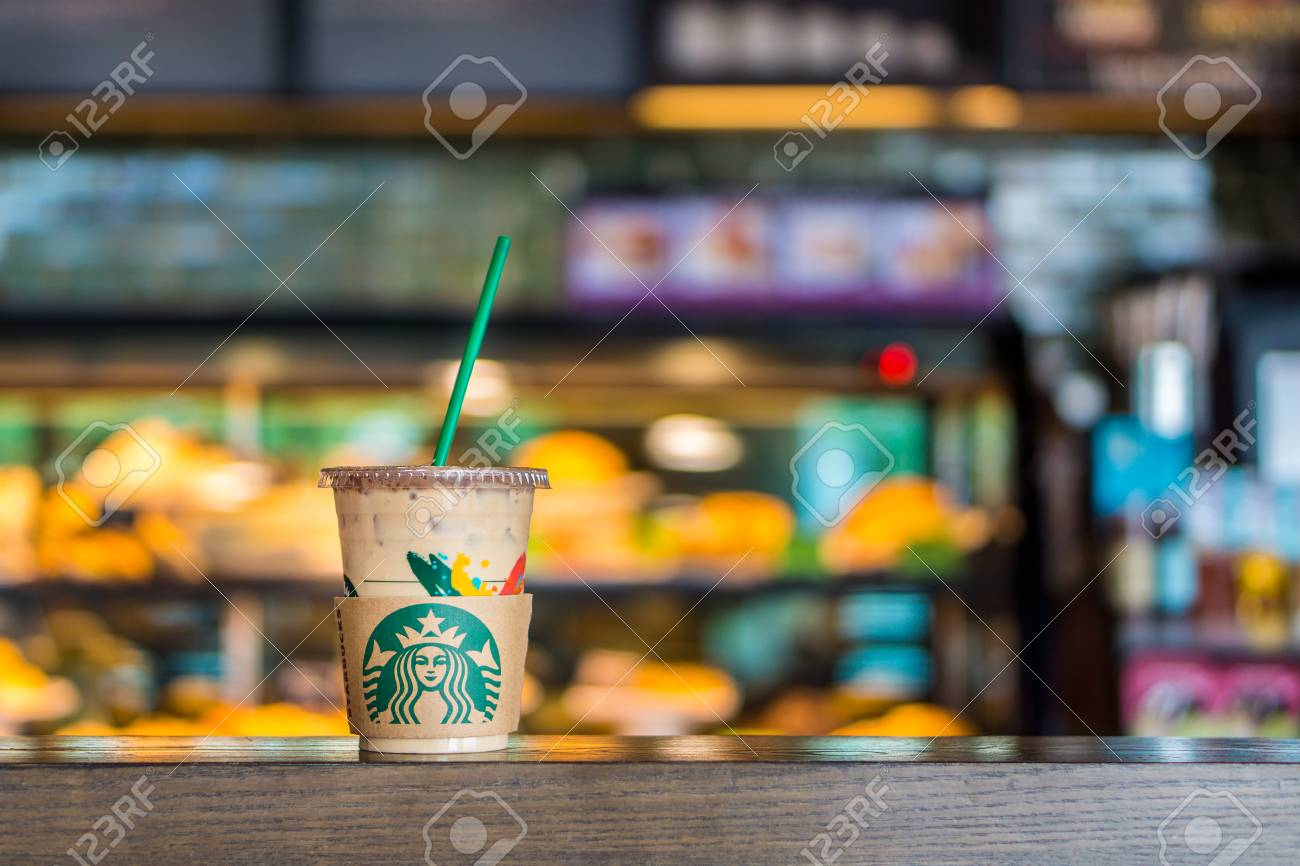 BANGKOK, THAILAND - JULY 2, 2017: Starbucks plastic cup with