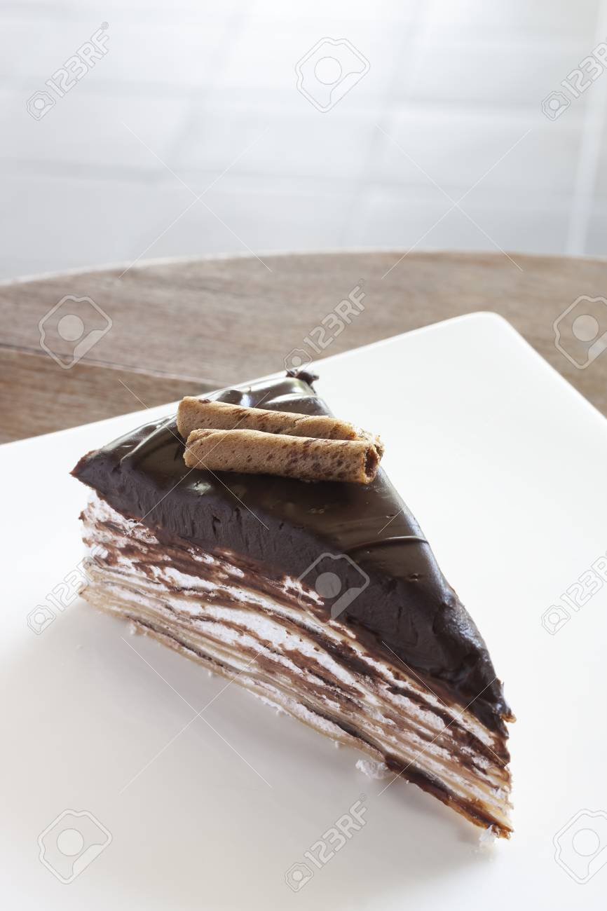 Crepe Cake Soft Chocolate on the top Stock Photo - 17123057