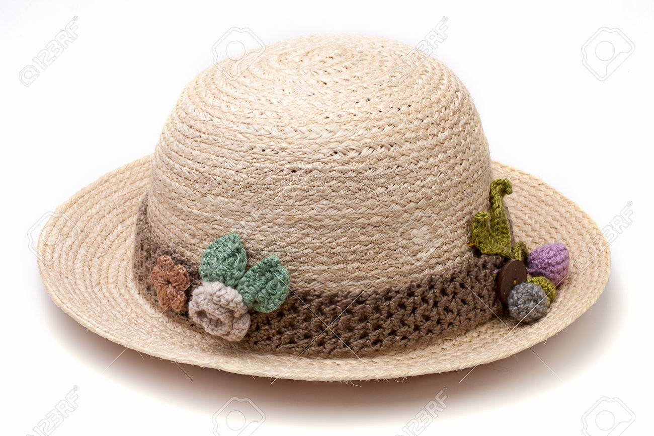ce02b395dbe2b Natural fiber woven hat decorated with crochet isolate on white background  Stock Photo - 31396457