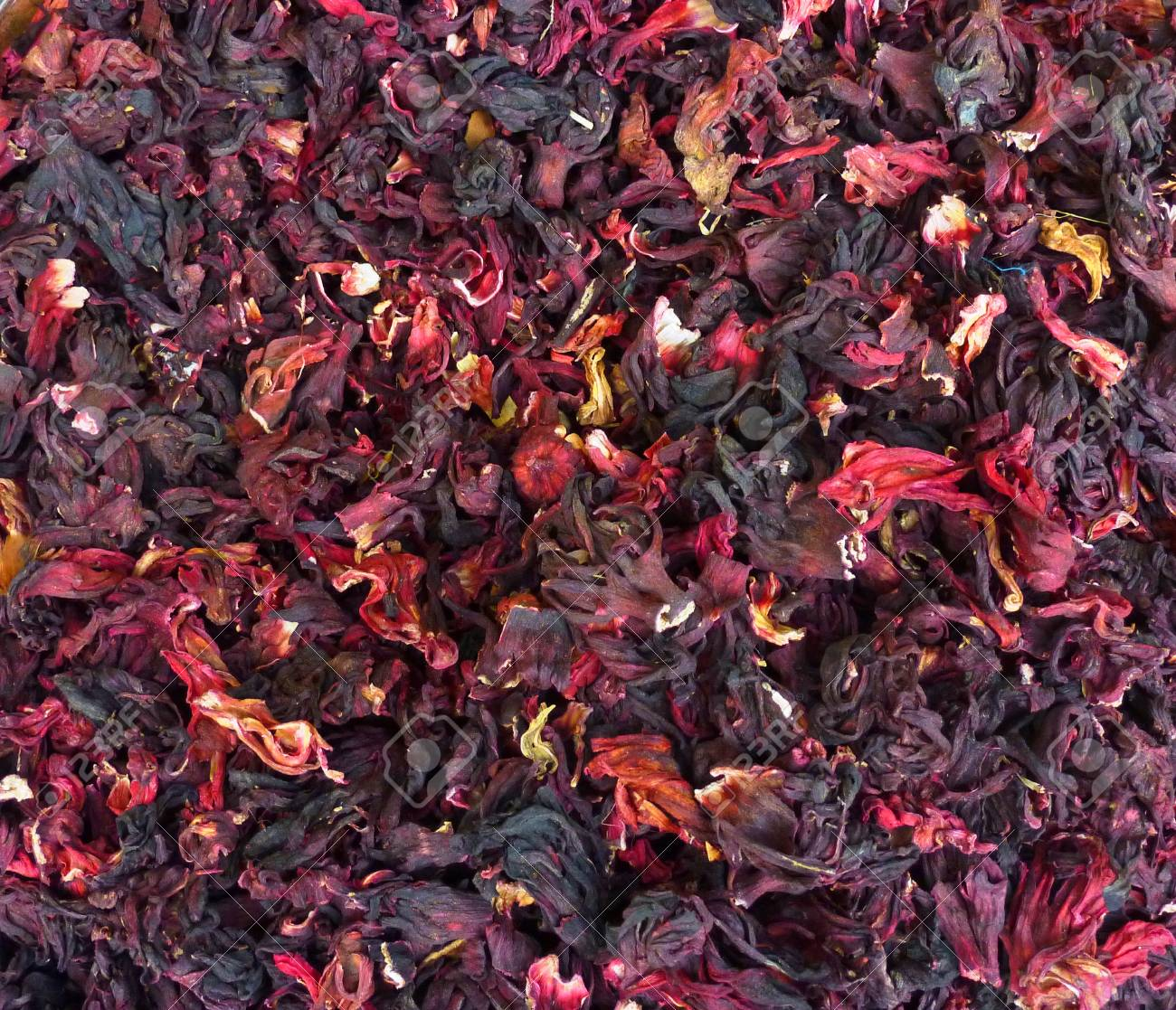 Dried Hibiscus Flowers For Sale At A Market In Mexico Stock Photo