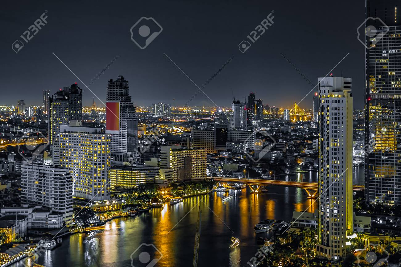 Bangkok Cityscape Many Building And Construction River The Top Of View On Skyscraper
