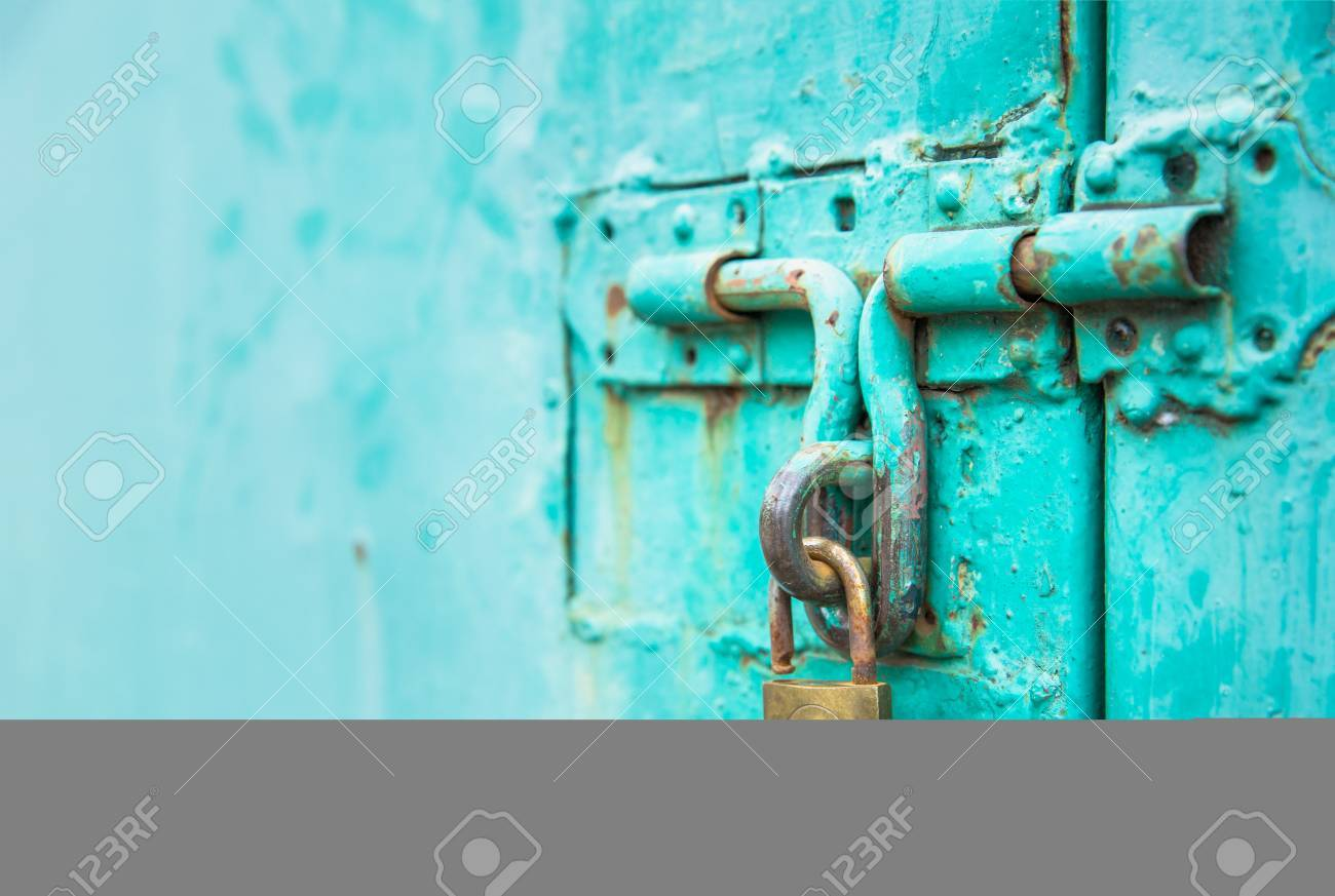 Close Up To The Key Unlock With Vintage Green Door, Abstract.. Stock ...