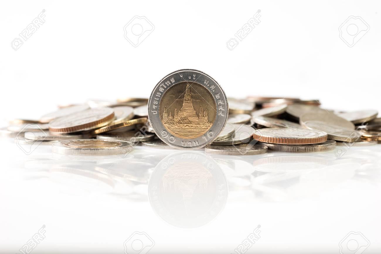 Thailändischer Baht Münzen 10 Baht Münze Mit Reflexion Isoliert Auf