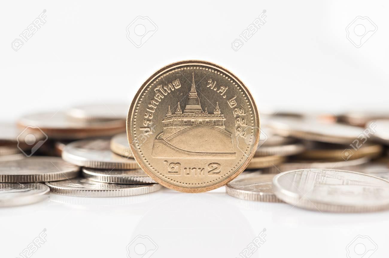 タイのバーツの硬貨、2 バーツ硬...