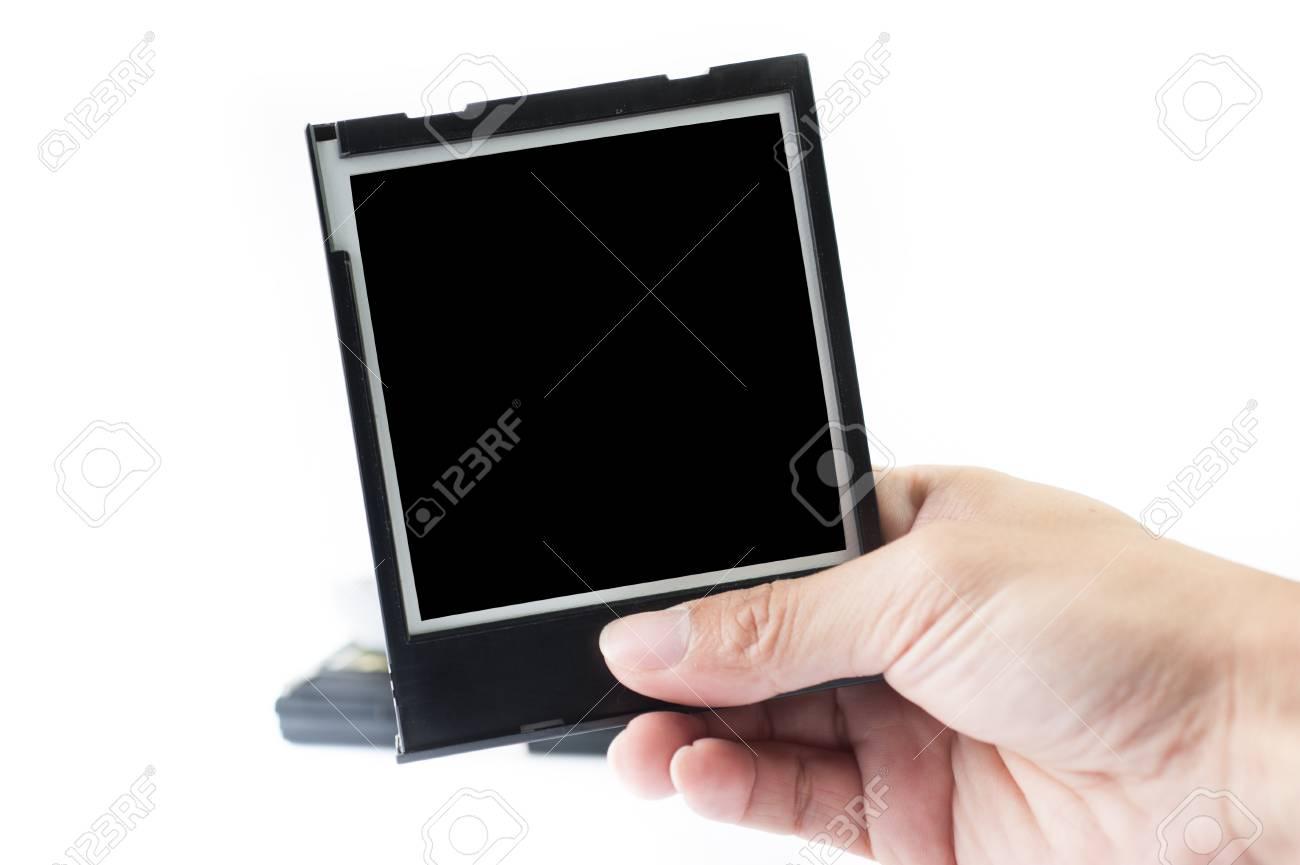 Halten Instant Bilderrahmen Auf Weißem Hintergrund Lizenzfreie Fotos ...