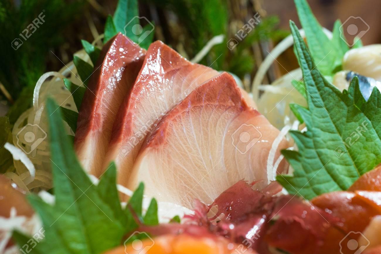 Hamachi Or Buri Sashimi Japanese Food Fish Sliced Into Thin Pieces
