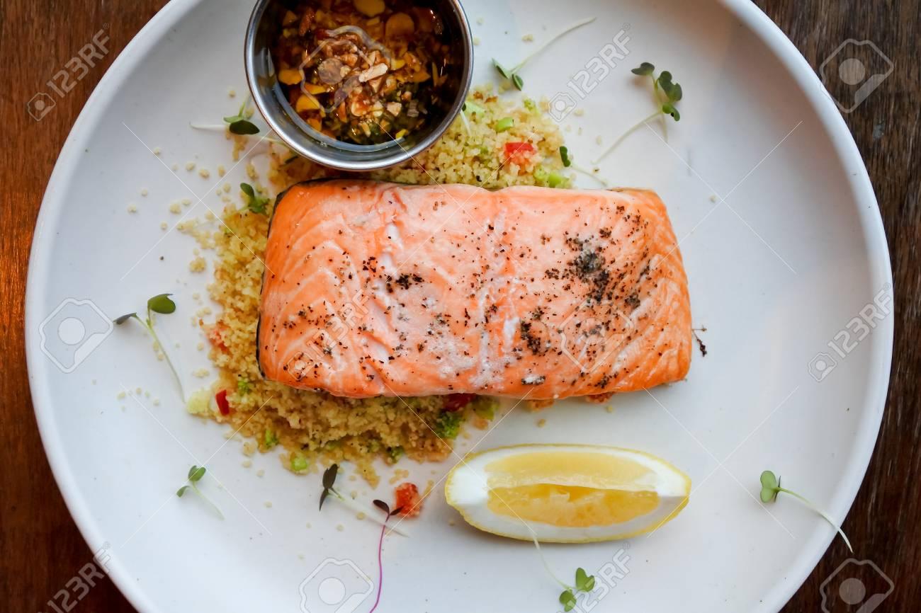 Salmon Steak Healthy Recipe Stock Photo ...