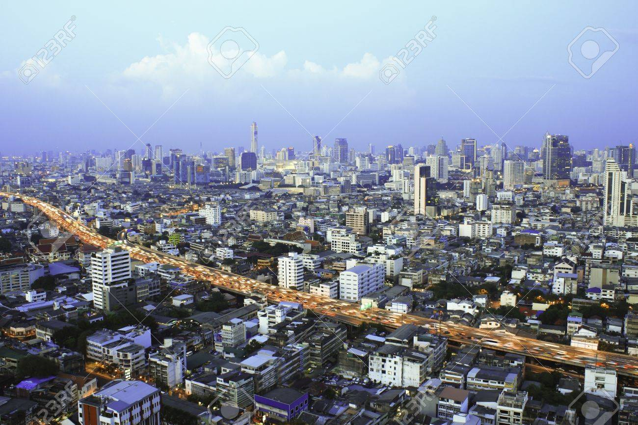 Skyscraper Bangkok Downtown Top View At Night Thailand Stock Photo