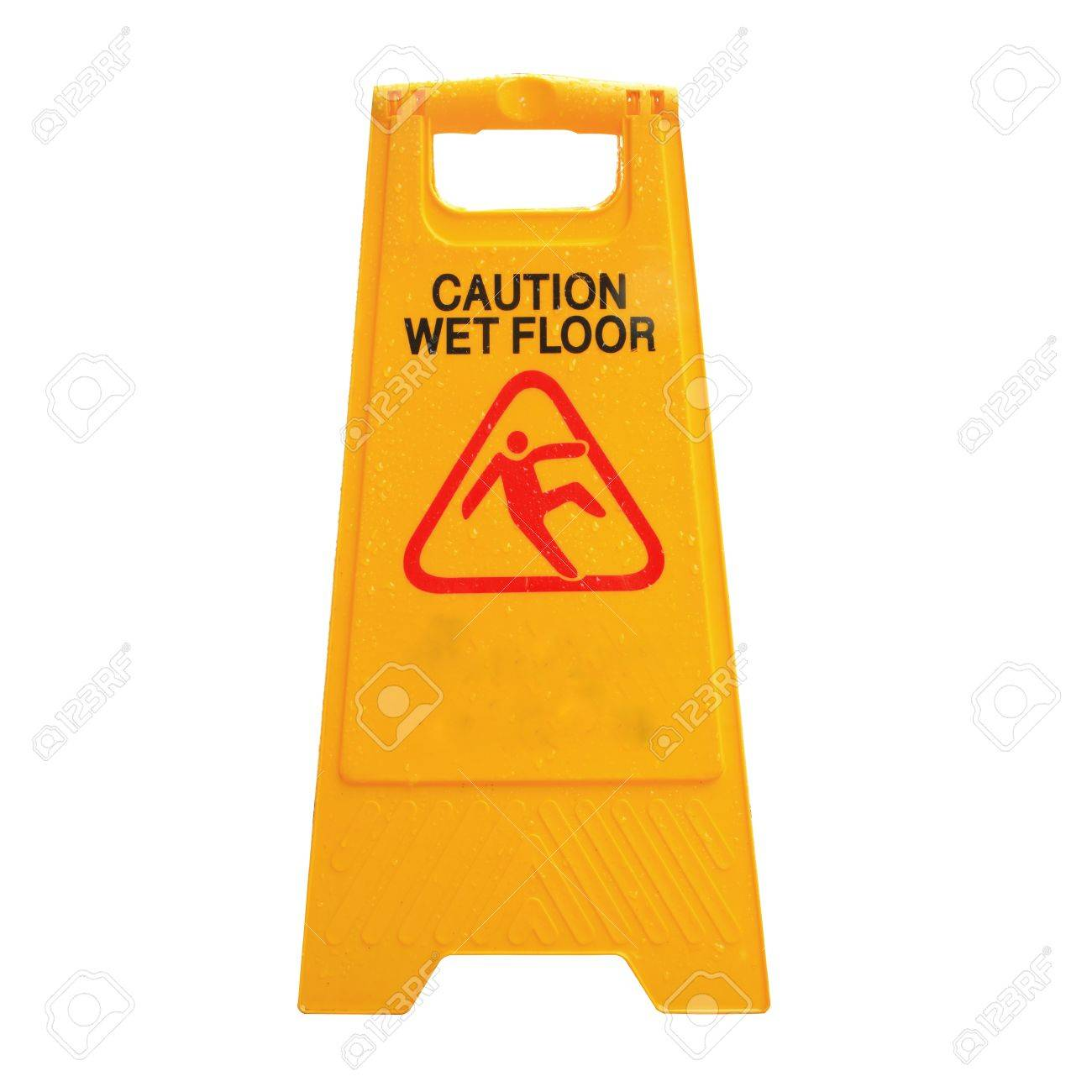 Sign advising caution on wet floor isolated on white Stock Photo - 17947548