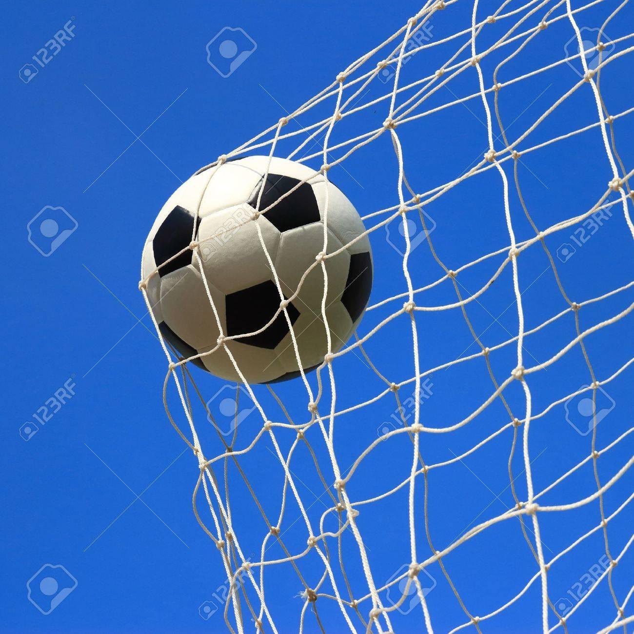 soccer ball in goal Stock Photo - 21052639