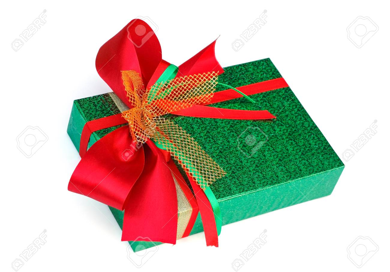 gift box wrap green paper with red ribbon