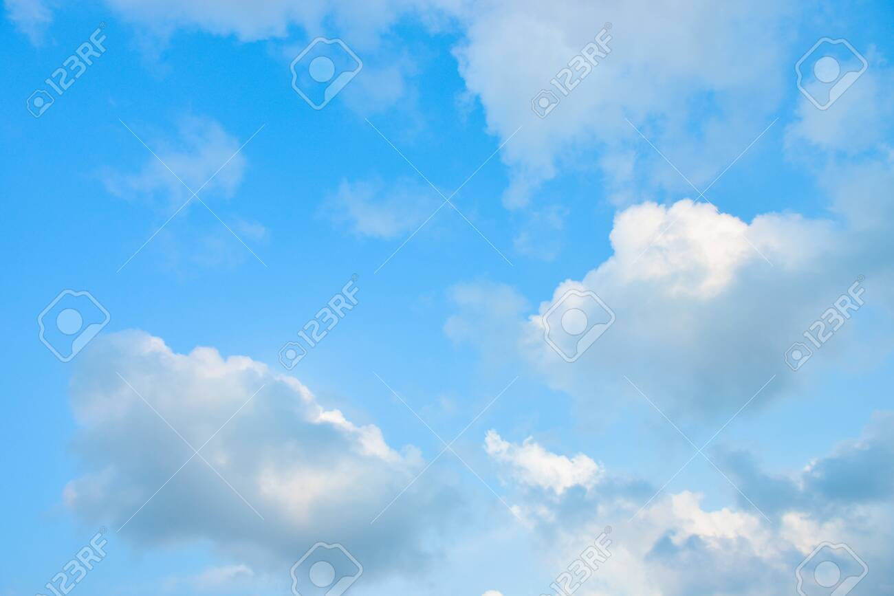 Beautiful blue sky with white clouds in the afternoon. - 120660969