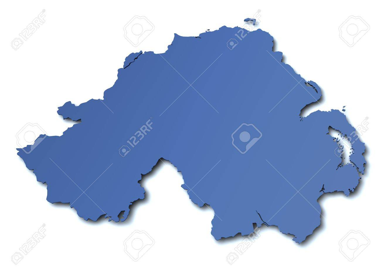 3d rendered blank map of Northern Ireland Stock Photo - 10438686
