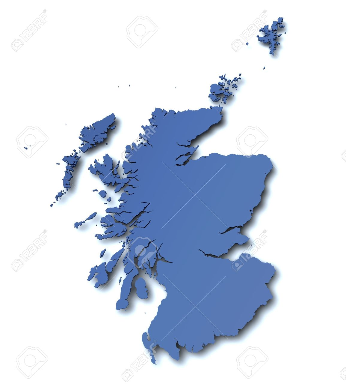 3d rendered blank map of Scotland Stock Photo - 10438693