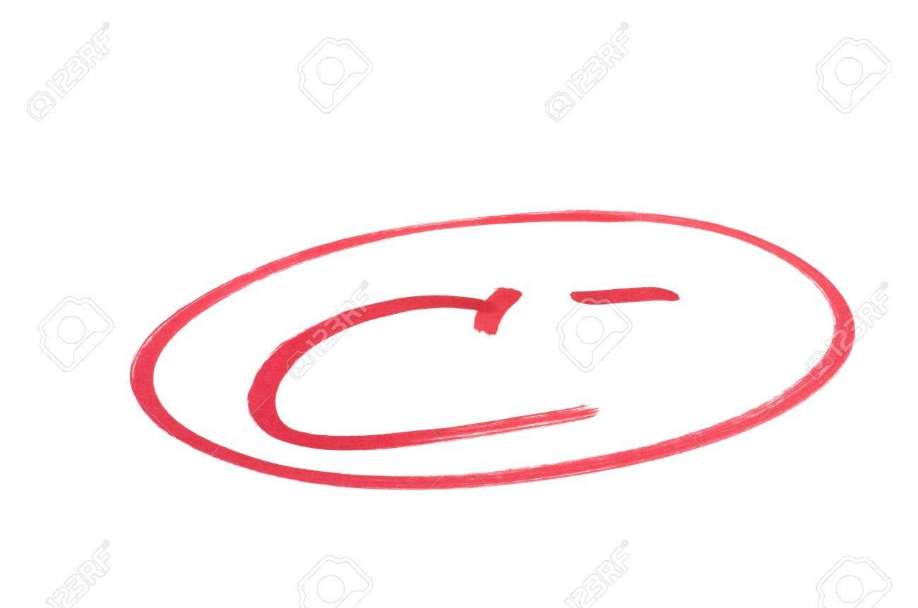 a handwritten grade for good achievementsin red ink isolated a handwritten grade for good achievementsin red ink isolated on white stock photo 12409168