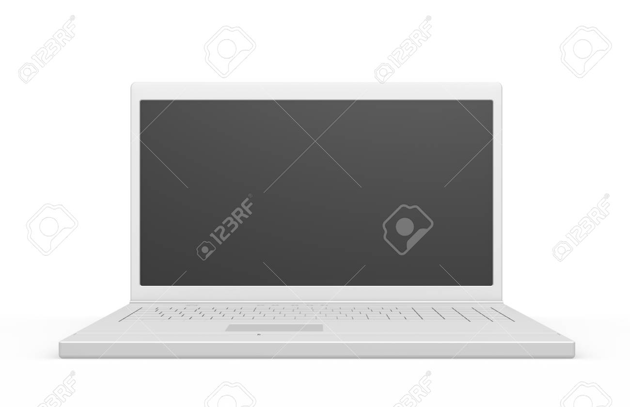 Laptop isolated, black screen with copy space Stock Photo - 9152493