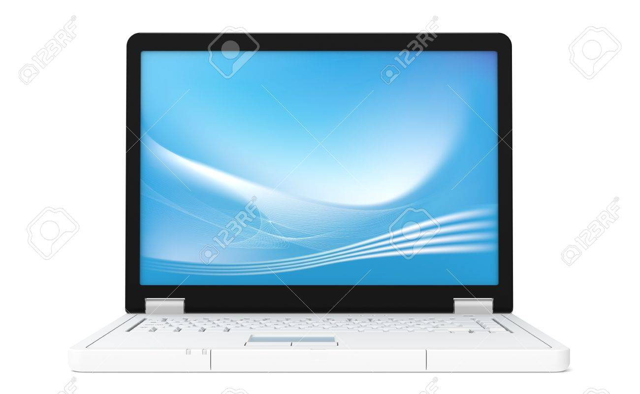 Laptop front view with blue screen saver Stock Photo - 9537482