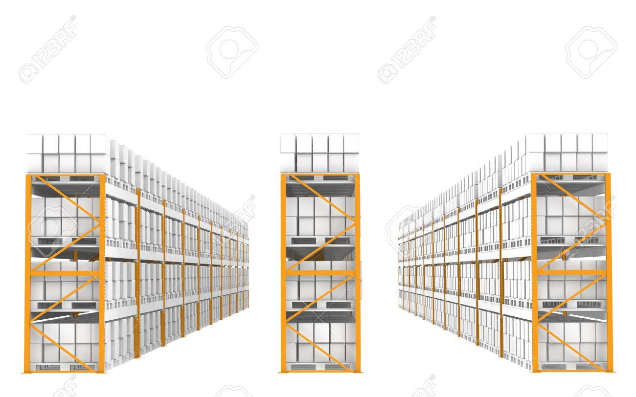 Shelves in a row. Part of Warehouse series. Stock Photo - 9537585