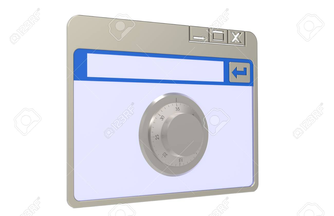 Browser window with combination lock. Stock Photo - 9617807