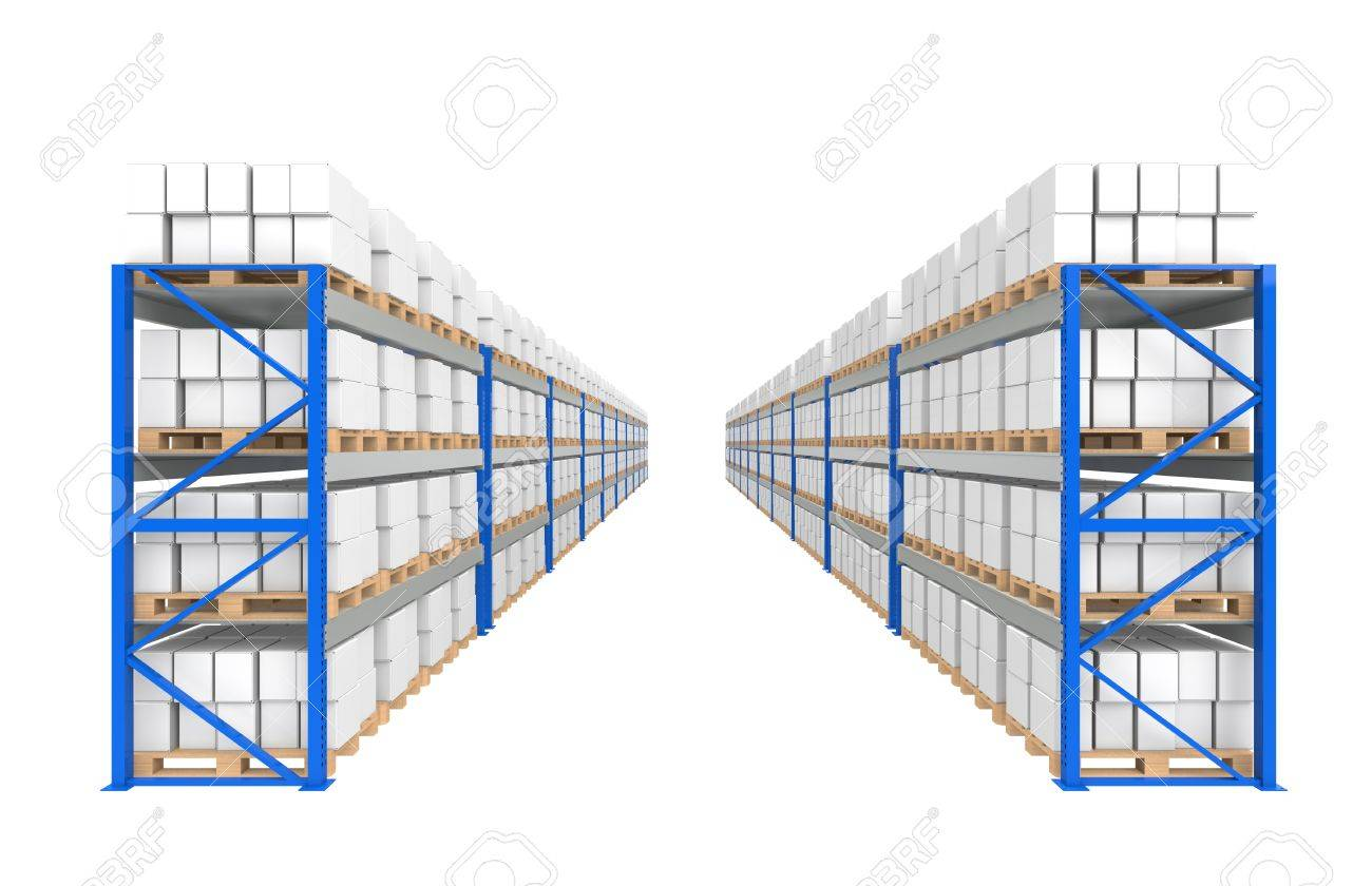 Warehouse Shelves 2 rows. Part of a Blue Warehouse and logistics series. Stock Photo - 9713405