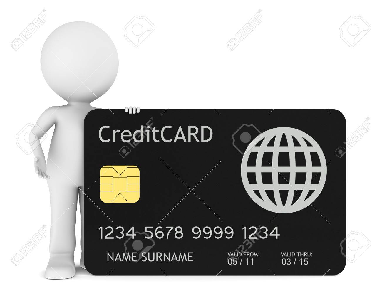 3D little human holding a Credit Card. Isolated. Stock Photo - 9976682