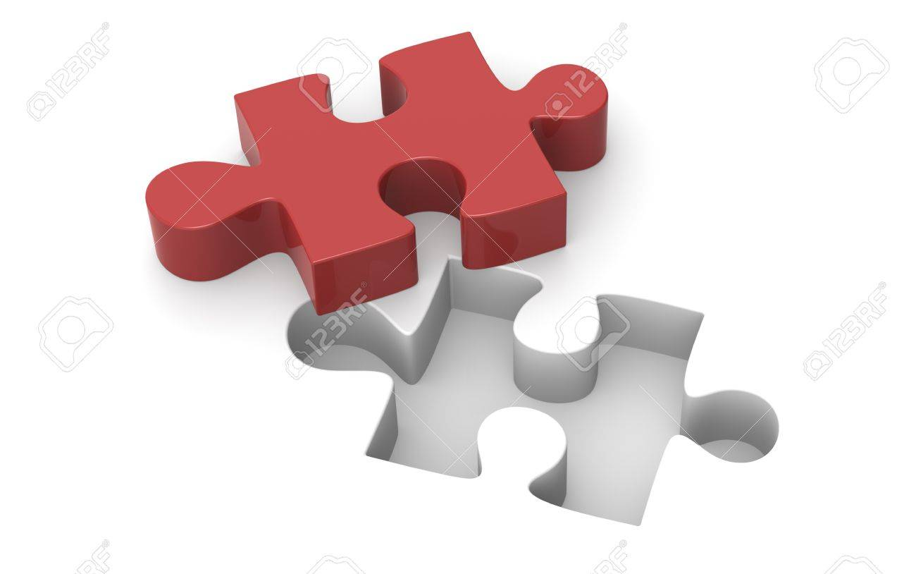 A Red Jigsaw puzzle piece. Stock Photo - 9976717