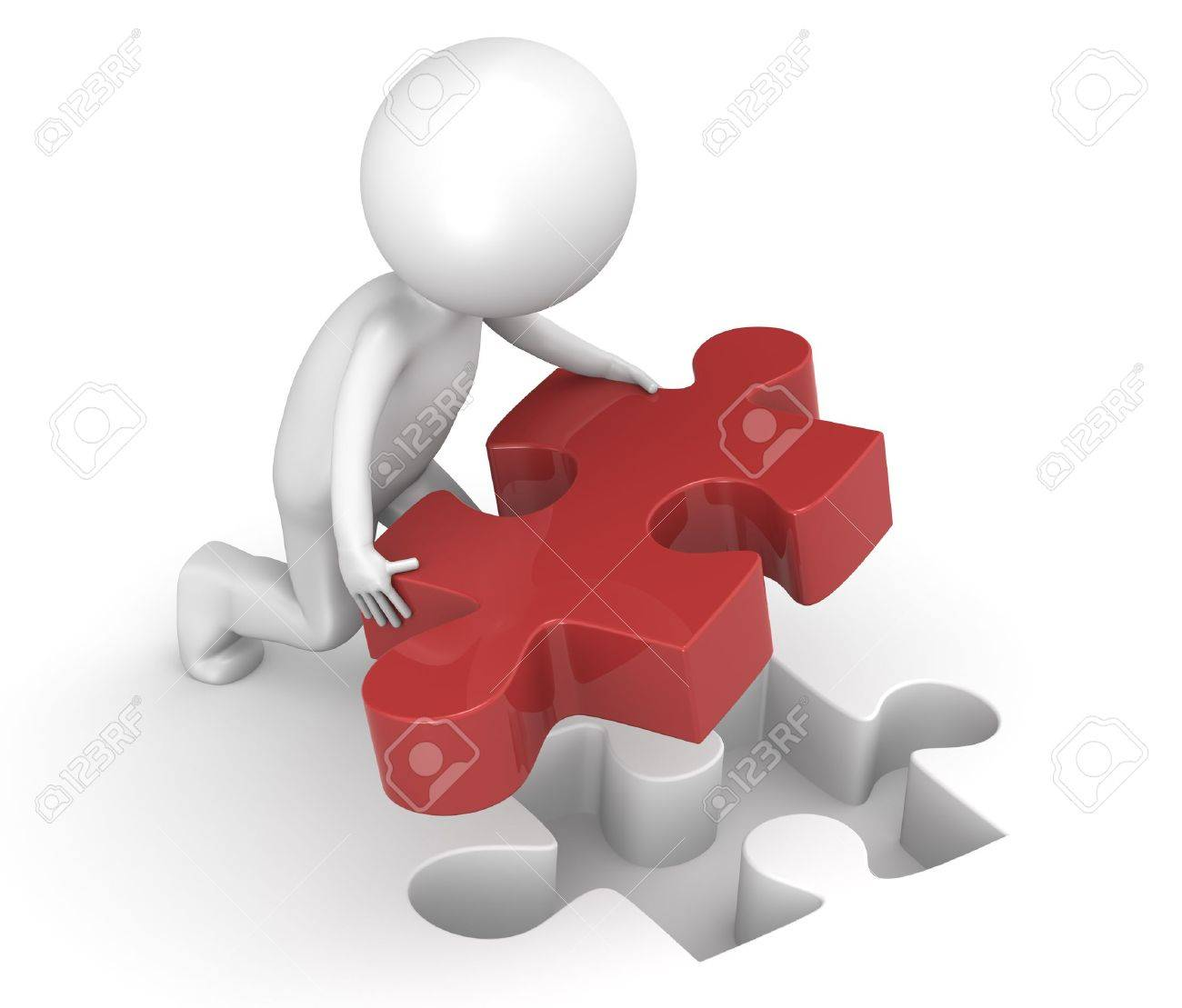3d little human character with a Red Jigsaw Puzzle Piece Stock Photo - 9976755