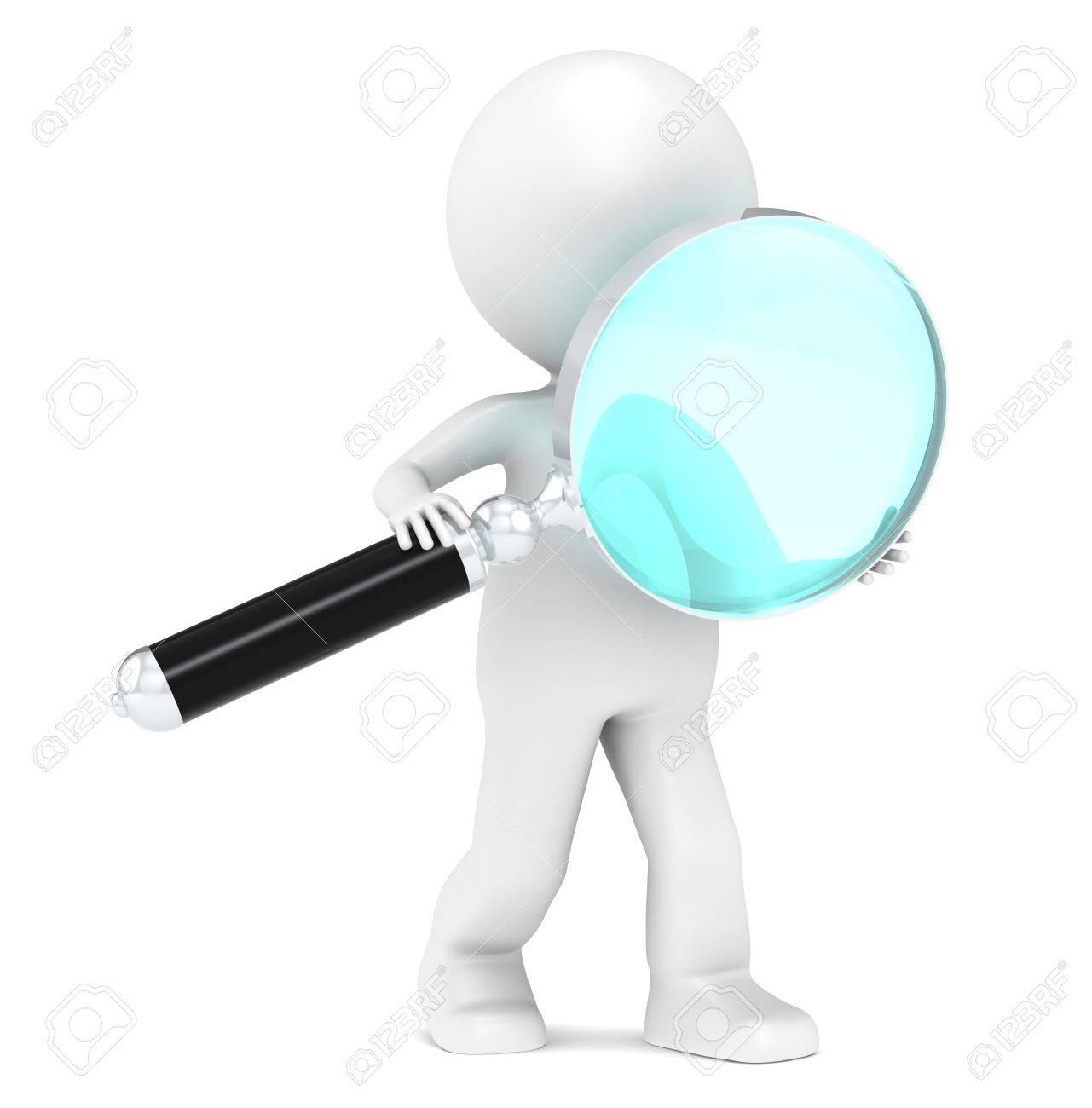 3D Little Human Character holding a Magnifying glass  Light Blue