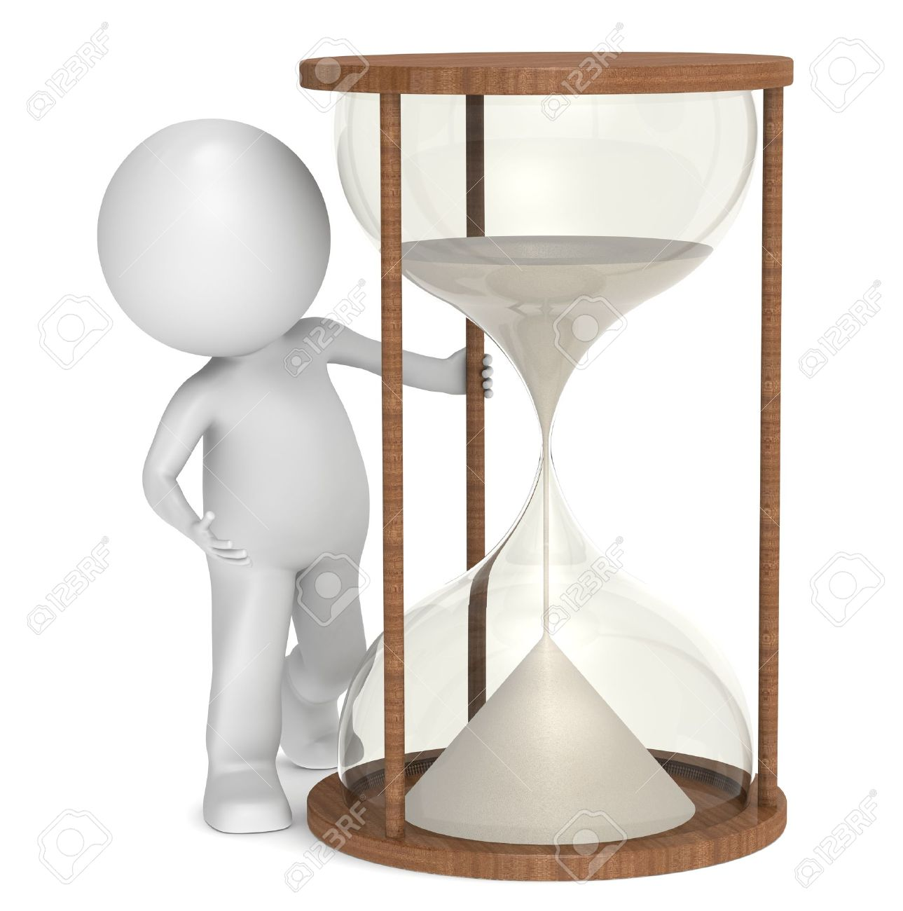 Carácter Humano Con Arena Reloj Poco 3d Un De CoBeWrdx